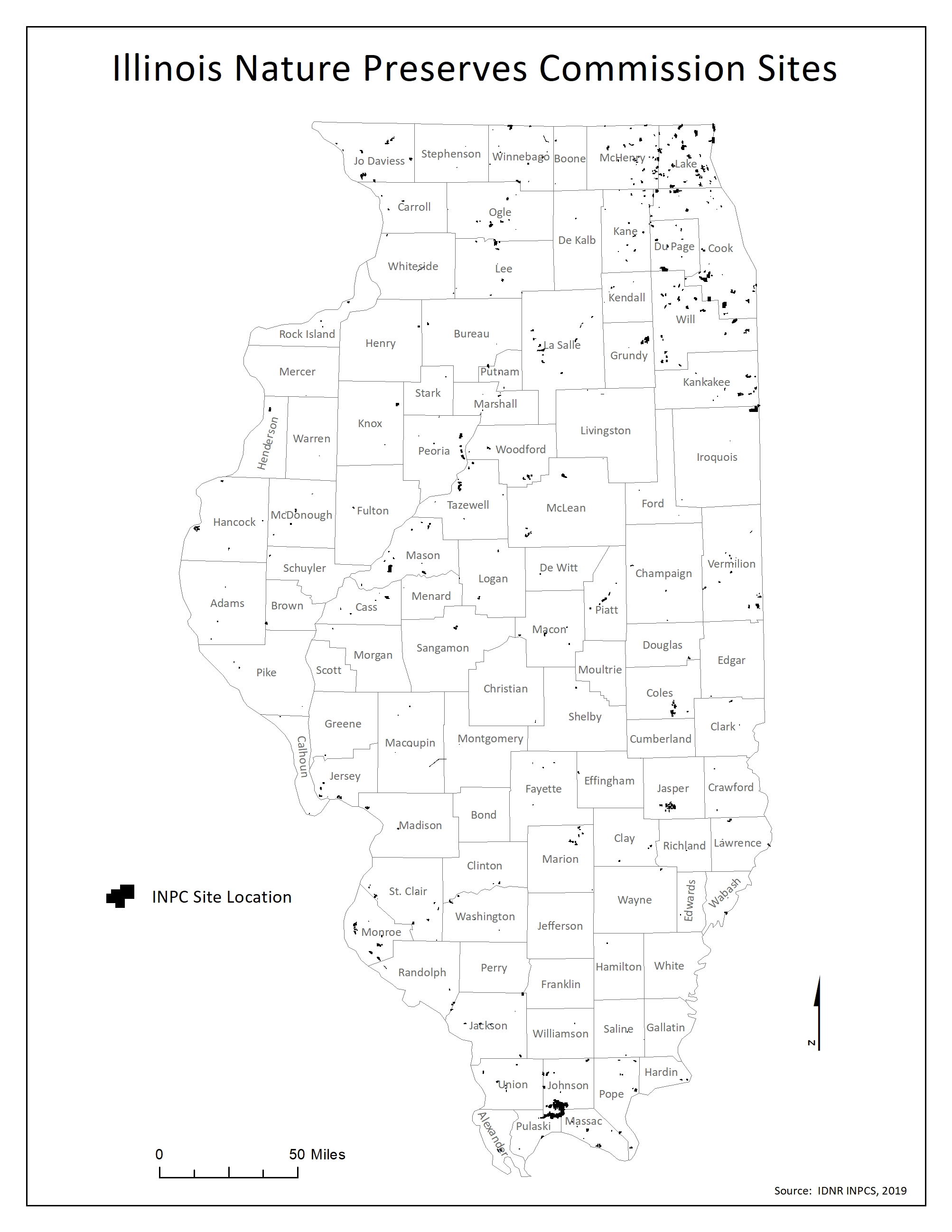 Map of Illinois DNR Nature Preserve Sites